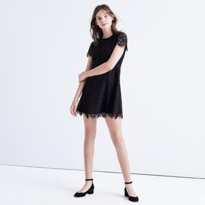 Madewell Floral Lace Overlay Black Dress 2